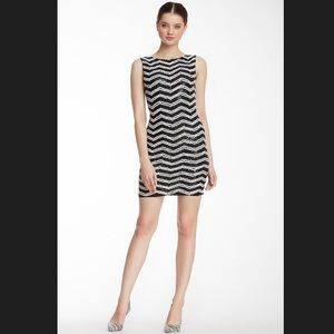 alice + olivia Sumie Sequin Stripe Fitted Dress